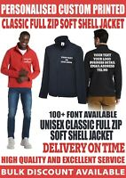Custom printed Personalised UC612 full zip Soft Shell Jacket text logo workwear
