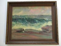 ANTIQUE AMERICAN COASTAL PAINTING SEASCAPE LANDSCAPE CLIFFS OCEAN IMPRESSIONIST