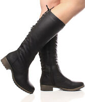 NEW WOMENS LADIES ZIP UP BLOCK HEEL KNEE LACE UP BOOTS SHOES SIZE 3-8
