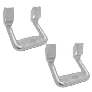 2x Polished Aluminum 300lb Capacity Truck Bed SUV Non Slip Pad Hoop Side Step