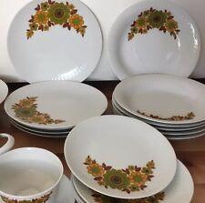 VINTAGE SET Mitterteich Bavaria Green Orange Brown Flower Dinner Plate Bowl 286
