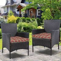 Made USA Outdoor/Indoor Pretty Wicker Seat Cushion Seat Pad Set of 2 Red Stripe