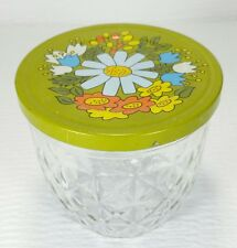 Vintage Ball Quilted Crystal Jelly Jam Jar Green Flower Lid 8 OZ Half Pint Glass