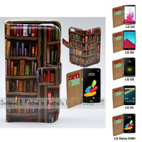 For LG Series - Bookshelf Theme Print Wallet Mobile Phone Case Cover