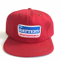 Vintage SnapBack The Battery New Castle Trucker Hat Embroidered Patch Red Cap