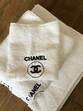 TOWELS HAND TOWEL 1 BATH TOWEL 1 FACE CLOTH 1- WHITE TOWELS WITH BLACK LOGO NEW
