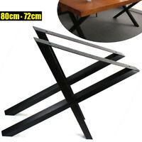 """NEW Steel Metal Table Legs 31.1""""L X-Shape for Dining Table Desk 2PC Black"""