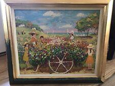 "Vintage 70's Listed artist MICHEL Le SAVARIN Original Oil PAINTING "" Flower Cart"