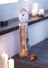 LED-Säule Weihnachtsmann Santa Claus Holz-Säule Weihnachtsdeko Leuchtdeko Figur
