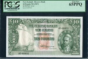 New Zealand 1960-1967, 10 Pounds, P161d, PCGS 65 PPQ GEM UNC