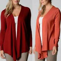 Drape Cardigan LILIA WHISPERS Burgundy Rust Plus Sizes 10 - 18 Women Long Jacket