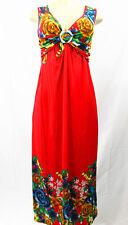 Women Tropical Colorful Long Summer Dress Super Energetic Hangout Sundress Multi-red & More M