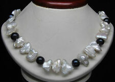 Natural White Biwa Pearl with 9-10mm AAA Round black pearl necklace 18''