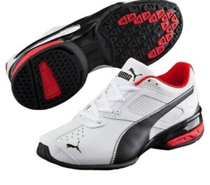 Puma Boys Running Sneakers Tazon 6 SL. White/Black/Red. 100% Authentic.