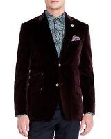 MEN'S TED BAKER MAROON VELVET TAILORED OCCASION JACKET COAT BNWT RRP £995 38/3