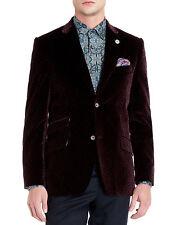 Ted Baker Dankov Maroon Velvet Occassion Jacket 44 Regular