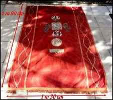 Judaïsme Rideau d'Arche de Synagogue Russie XIXe Velours Broderies d'Argent