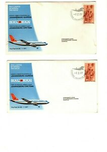 1977 SAL/SAA - 1st FLIGHT JOHANNESBURG-CAPE TOWN FDC'S X2 FROM COLLECTION 8C/12