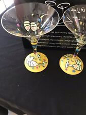 'Set of Two Hand Painted Martini Time Party Time Glasses with Martini Names NIB