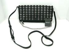 DKNY Women's Black Grommet Stud Snap Closure Clutch Belt Bag NWT MSRP $228 A1