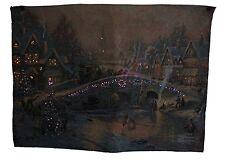 Victorian Christmas Fiber Optic Tapestry Wall Hanging ~ Thomas Kinkade No pole