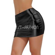 Damen Dessous Minirock Stretch Kurz Mini Rock Leder Optik Wetlook Röcke Sexy