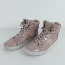 GUESS LADIES WOMEN'S PINK FLAT TRAINERS HI TOPS BOOTS SIZE EUR 37 US 7 UK 4.5 /5