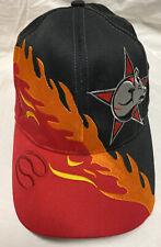 PBR Professional Bull Men's Riders Snapback Cap Red Flames Black Bull/Star Logo