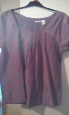 Silk/Cotton SOFT GREY Silver/Red short sleeve top sz14