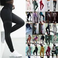 Damen Hohe Taille Leggings Stretch Sports Yoga Jogginghose Lang Hosen Leggins