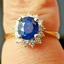Petite Top Blue Sapphire Round Diamond Halo14k white/yellow gold ring/band
