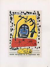 "1989 VINTAGE ""MIRO"" MATARASSO GALLERY MOURLOT MINI POSTER COLOR Art Lithograph"