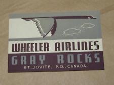 VTG Art Deco Advertising Wheeler Airlines Gray Rocks Canada Luggage Sticker NOS