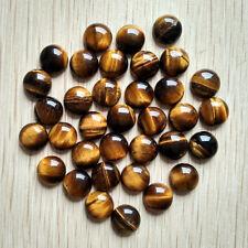 Wholesale 50pcs 12x12mm natural tiger eye stone round CAB CABOCHON stone beads