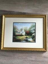 Hometown Chapel, Thomas Kinkade Collector's Print Framed & Matted Authenticated