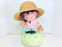 VTG=MUSIC BOX FIGURINE-OF GIRL W/TEDDY BEAR=CHARMING=PLAYS MUSIC GREAT=MADEJAPAN