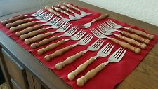 Vintage Lifetime Cutlery Stainless Wood Handle Dinner Fork Forks Set Lot of 21