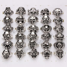 20pcs Wholesale Jewelry Lots Mixed Style Skull Silver Plated Rings Free Shipping
