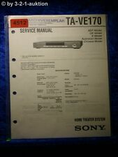 Sony Service Manual TA VE170 Home Theater System (#4512)