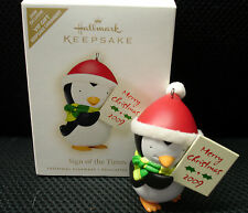 Hallmark Sign of the Times Penguin Merry Christmas Ornament 2009 VIP Exclusive