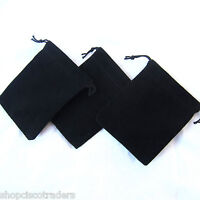 Three Black Velour Drawstring Bags 7x9cm Wedding Gift Trinket Rock Pouches