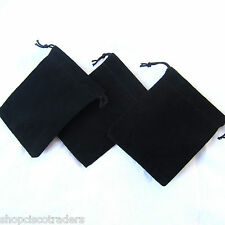 *THREE*Black Velour Drawstring Bag 7x9cm QTY3 Wedding Gift Trinket Rock Pouch