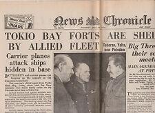 WW2 Wartime Newspaper News Chronicle July 19 1945 Churchill Stalin Tokyo Bay WAR