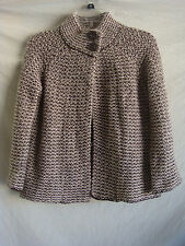 AUTH KAREN SCOTT 3/4  SLEEVE KNITTED CARDIGAN SWEATER PREOWNED BROWN IVORY SZ S