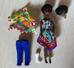 "Vintage Mattel 1970 Rock Flowers Rosemary African American Doll 6.5"""