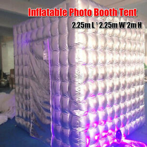 2.25m*2.25m*2m Silver Portable Inflatable Cube Photo Booth Two Door Tent