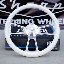 """14"""" Billet Steering Wheel for Chevy Gm Ford Dodge - White Wrap and Horn Button"""
