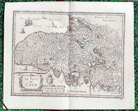 XVII ème - Le Pays de Caux Superbe Carte par Janssonius & Tavernier Editée 1640