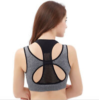 Women Yoga Sports Bra Fitness Stretch Workout Tank Top Seamless Racerback Padded