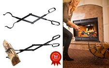 """Epica Fireplace Tongs, 26"""" Long, Log Grabber Tool Black Fire Pits Camping Grills"""